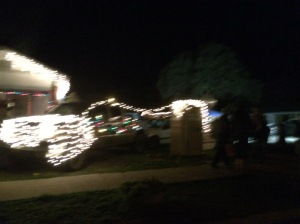 Kind of blurry- but a runner's dream- a lit up port a potty!